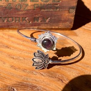 ✨RUSTIC PURPLE ONYX STERLING SILVER ADJUST. BANGLE